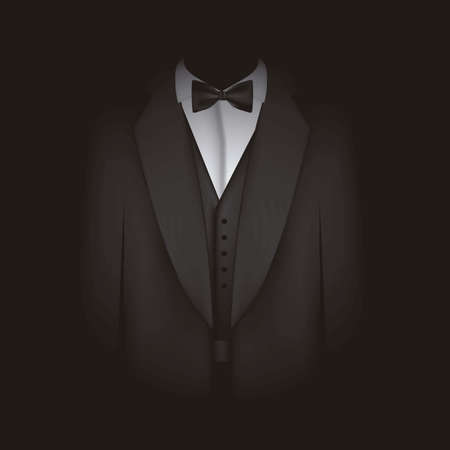 blazer: illustration of black suit with bow tie, blazer, vector illustration Illustration