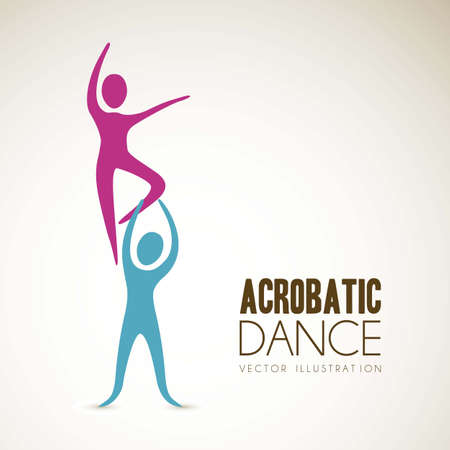 acrobatic: Illustration of couples dance positions, vector illustration