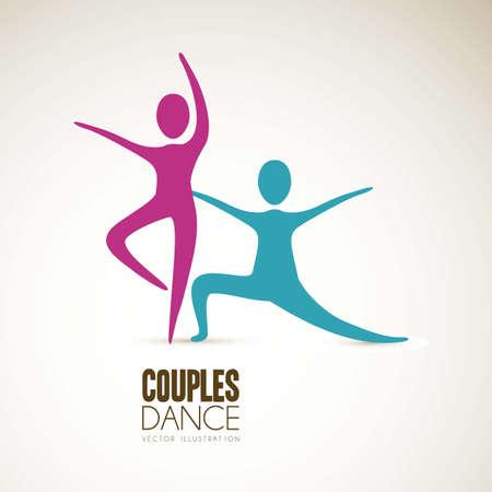 flexible woman: Ilustraci�n de las posiciones de parejas de baile, ilustraci�n vectorial Vectores