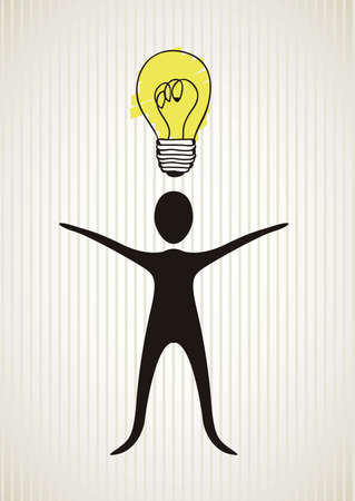 balck: illustration of human balck silhouette with idea, bulb glowing, vector illustration Illustration