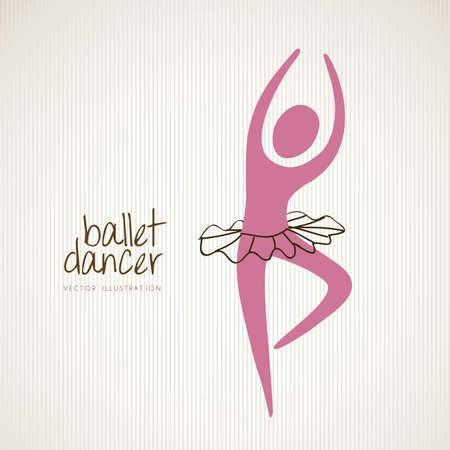 en pointe: Illustration ballet dancer in position, vector illustration Illustration