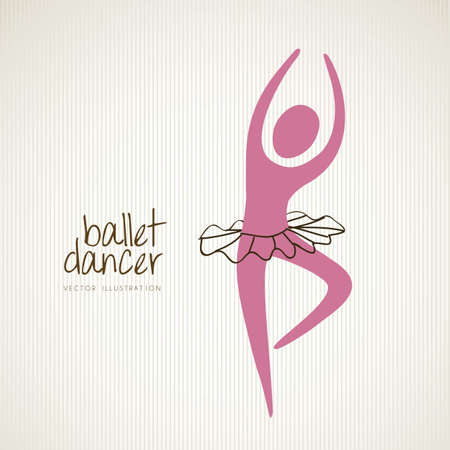 ballet studio: Illustration ballet dancer in position, vector illustration Illustration