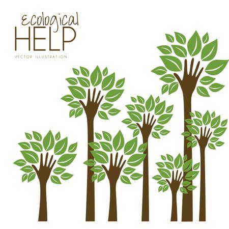 Illustratie recycling, met de hand de vorming van een boom met bladeren, het helpen van de natuur, vector illustration