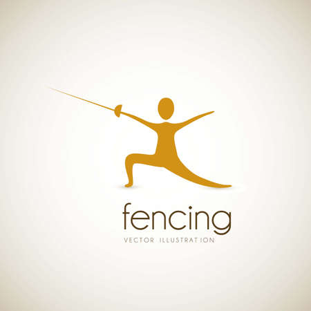 sward: silhouette of an athlete in fencing position, vector illustration