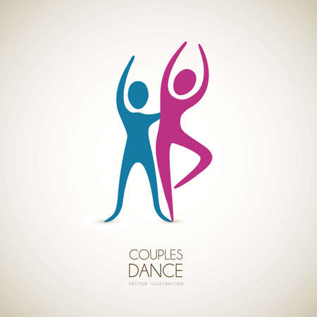 Illustration of couples dance positions, vector illustration Vector