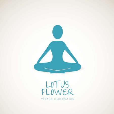 coaching: silhouette d'une personne dans la position du lotus, illustration vectorielle Illustration
