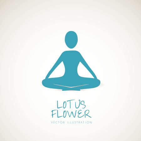 female pose: silhouette of a person in the lotus position, vector illustration  Illustration