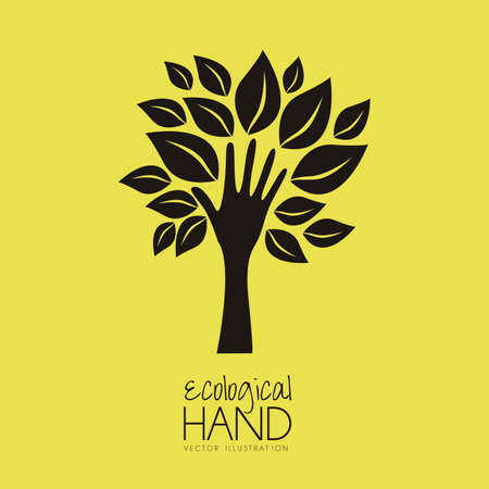 Illustration recycling, hand forming a tree with leaves, helping nature, vector illustration Vector