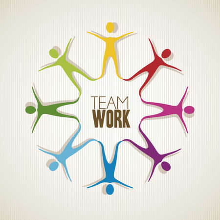 silhouettes colorées de personnes se tenant la main, le travail d'équipe, illustration vectorielle Vecteurs