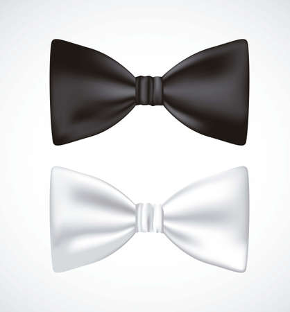 bow tie: illustration of 3D bow ties, white and black, isolated on white background, vector illustration