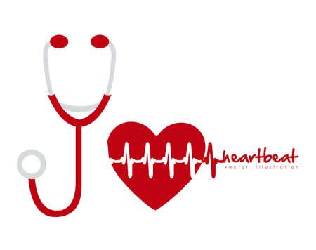 latidos del coraz�n: ilustraci�n del estetoscopio con el coraz�n y el ritmo del coraz�n, ilustraci�n vectorial Vectores
