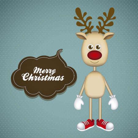 Illustration of cartoon Christmas Reindeer, Rudolph the reindeer, vector illustration Vector