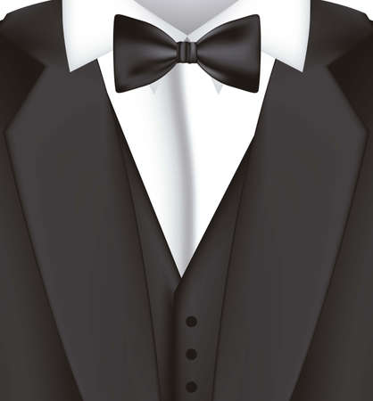 official wear: illustration of black suit with bow tie, blazer, vector illustration Illustration