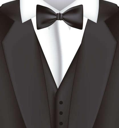 business shirts: ilustraci�n de traje negro con corbata de lazo, chaqueta, ilustraci�n vectorial