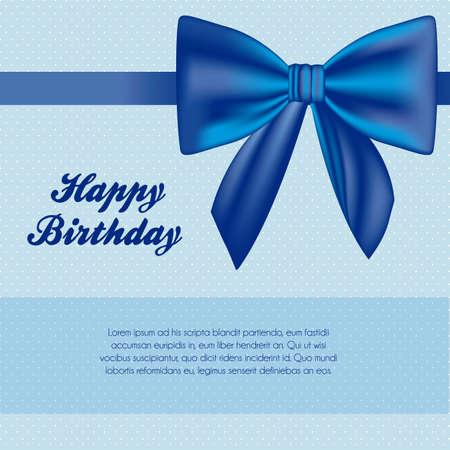 illustration of birthday with red ribbon, vector illustration