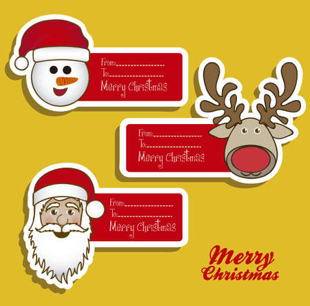 illustration of christmas card with different Christmas characters, vector illustration Stock Vector - 15084073