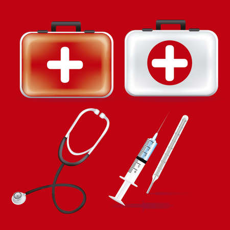 stetoscope: illustration of icons of health, first aid kit, stethoscope, pace, heart, thermometer, vector illustration