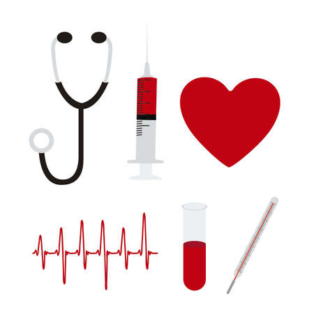 illustration of icons of health, stethoscope, injection, pace, heart, vector illustration Stock Vector - 15084109