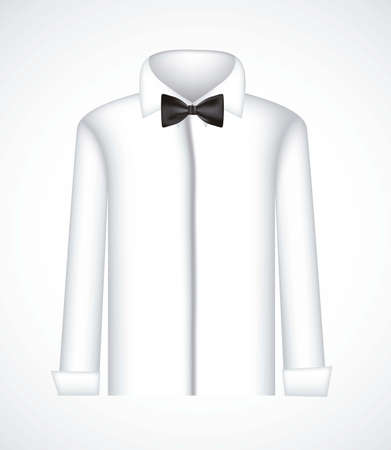 official wear: illustration of serious shirt with bow tie, vector illustration