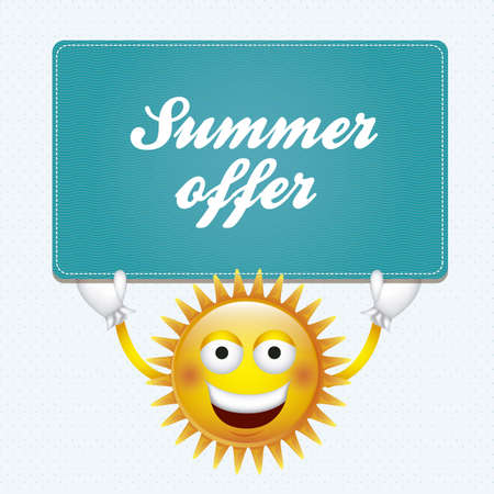 synopsis: Cartoon illustration of a sun with eyes and smile, holding a sign of summer offer, vector illustration