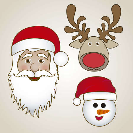 Illustration of Santa Claus, Snowman, and Rudolph the reindeer, vector illustration Stock Vector - 15084054