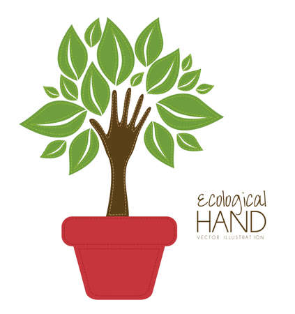 go green background: Illustration recycling, hand forming a tree with leaves, helping nature, vector illustration Illustration