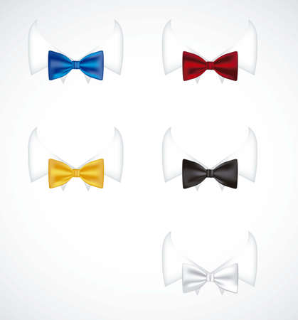 black tie: illustration of colorful ties with serious neck shirt, vector illustration