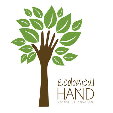 creative design: Illustration recycling, hand forming a tree with leaves, helping nature, vector illustration Illustration