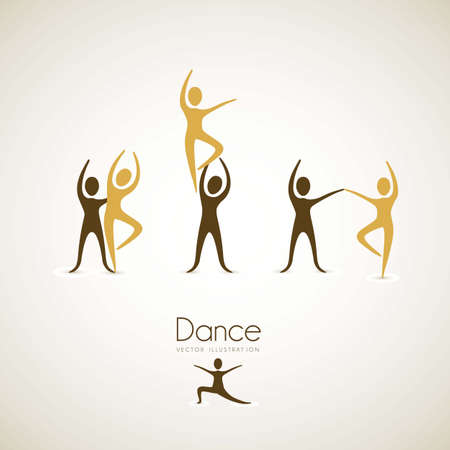 disposition: Illustration of couples dance positions, vector illustration