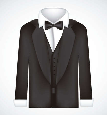 unused: illustration of black suit with bow tie, blazer, vector illustration Illustration