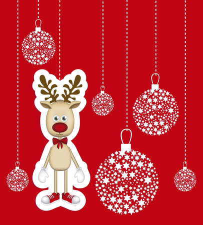 rudolph: Illustration of cartoon Christmas Reindeer, Rudolph the reindeer, vector illustration