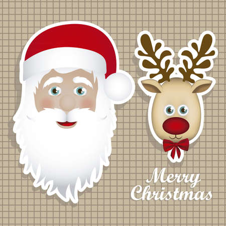 Illustration of cartoon Christmas Reindeer and santa claus, Rudolph the reindeer, vector illustration Stock Vector - 15084038
