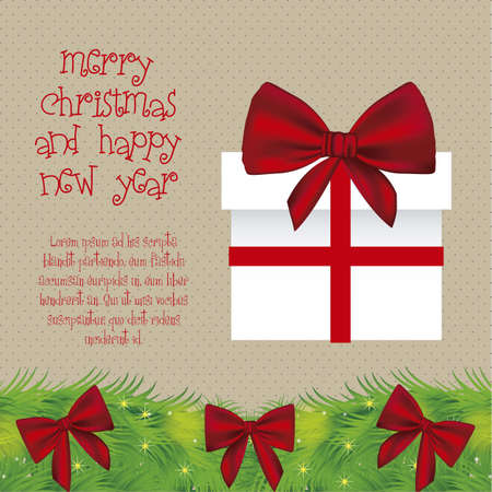 illustration of white gift box with red ribbon, in beige background with mistletoe, vector illustration Stock Vector - 15083901