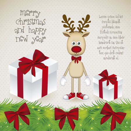 Illustration of cartoon Christmas Reindeer with gifts, Rudolph the reindeer, vector illustration Stock Vector - 15083902