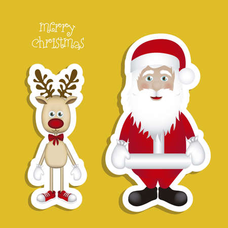 Illustration of cartoon Christmas Reindeer and santa claus, Rudolph the reindeer, vector illustration Stock Vector - 15083967