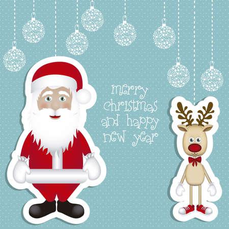 schattige dieren cartoon: Illustratie van cartoon Kerst Rendier en de Kerstman, Rudolph het rendier, vector illustration