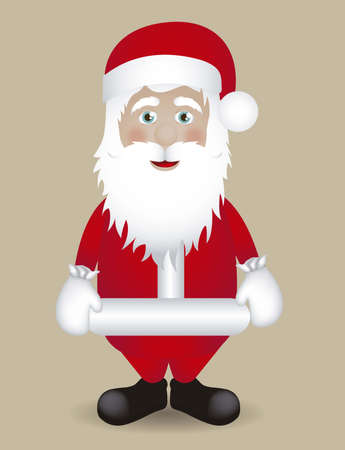 Illustration of Santa Claus isolated on beige background, vector illustration Stock Vector - 15084070