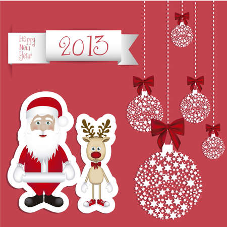 Illustration of cartoon Christmas Reindeer and santa claus, Rudolph the reindeer, vector illustration Stock Vector - 15083893