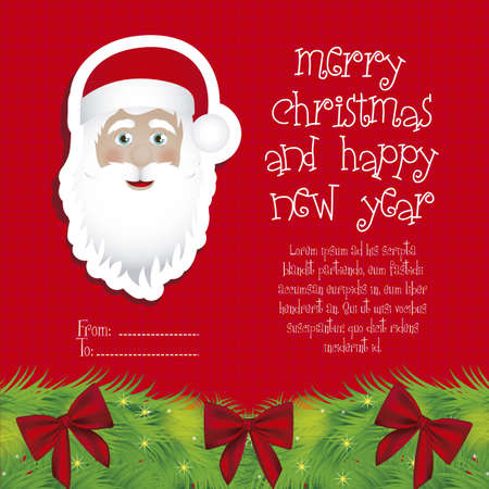 Illustration of Santa Claus isolated on Red background, vector illustration Stock Vector - 15083897