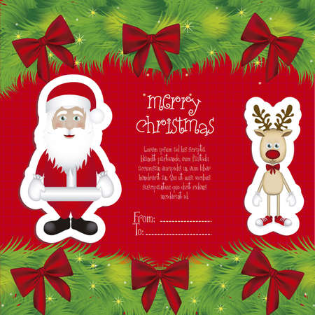 Illustration of cartoon Christmas Reindeer and santa claus, Rudolph the reindeer, vector illustration Stock Vector - 15083905