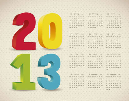 illustration of calendar 2013, with numbers in 3D, vector illustration Stock Vector - 15271863