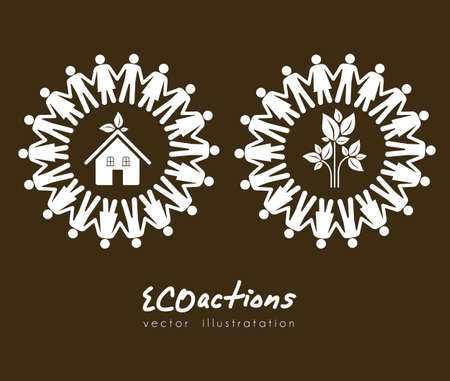 illustration of ecological icons around people, vector illustration Vector