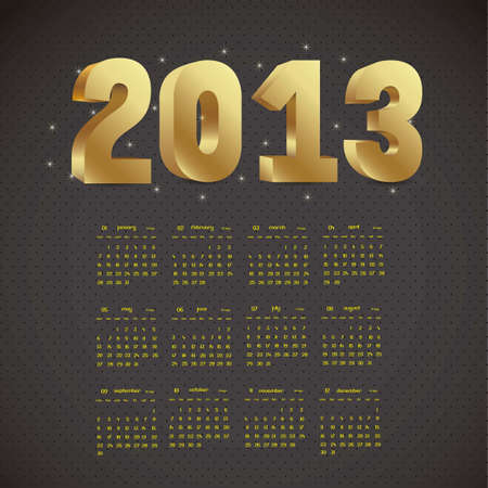 illustration of calendar 2013, with numbers in 3D, vector illustration Vector