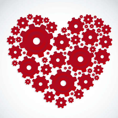 Illustration of a heart made with gears, vector illustration Vector