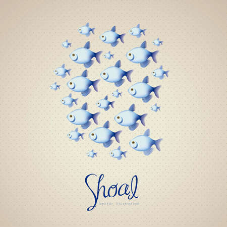 illustration of many blue fish, on brown background  vector illustration Vector