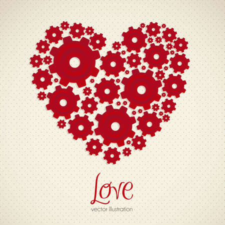 heart gear: Illustration of a heart made with gears, vector illustration
