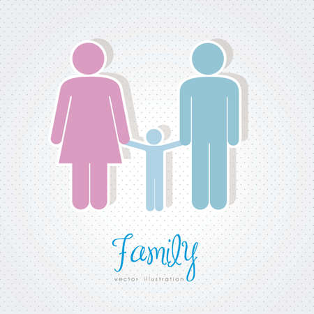 illustration of a family in 3d, vector illustration Vector