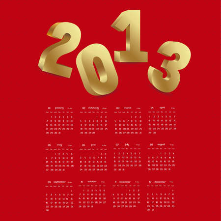 illustration of calendar 2013, with numbers in 3D, vector illustration Stock Vector - 15271869