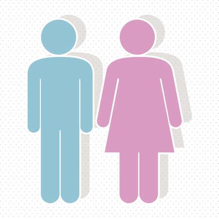 ванная комната: иллюстрация леди и джентльмена, векторные иллюстрации Иллюстрация