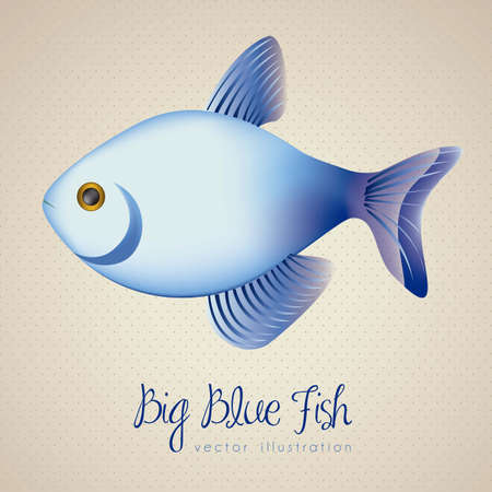 illustration of big blue fish, vector illustration Vector
